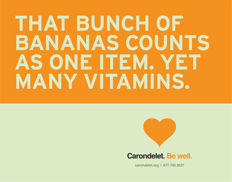 Carondelet Health Network Be Well campaign grocery cart ad creative - Bay Area branding agencies
