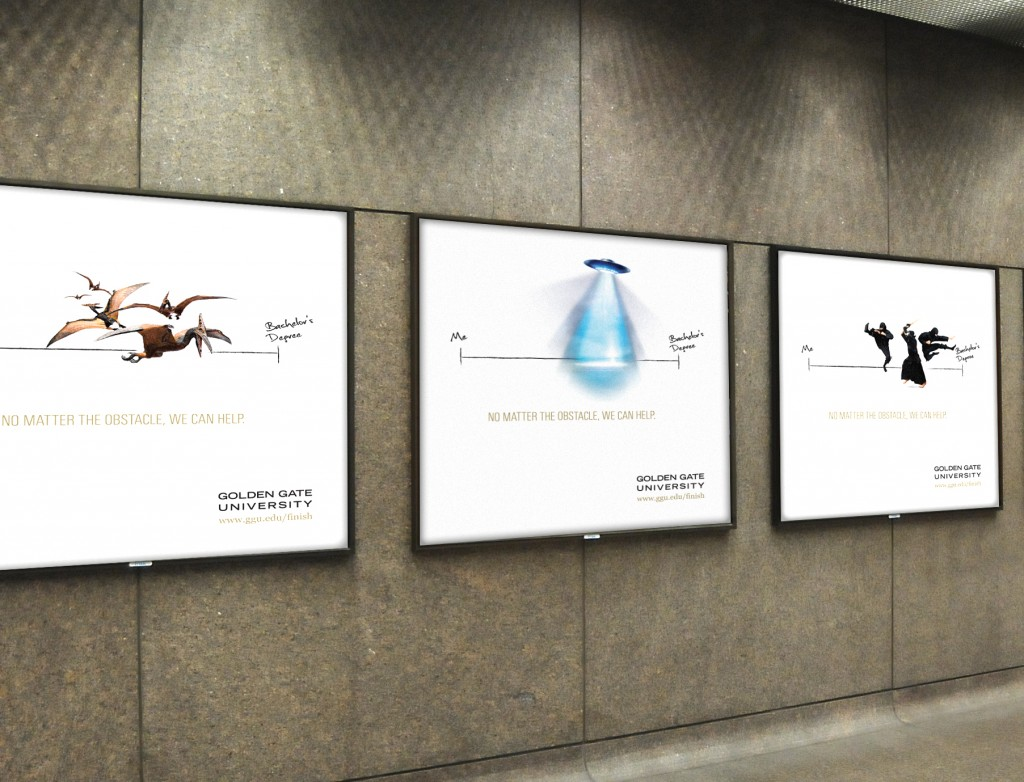 Golden Gate University ad campaign OOH BART station ads - Bay Area Mortar Branding Agency
