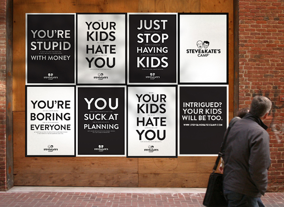 Steve & Kate's Camp ad campaign posters - creative agencies in San Francisco