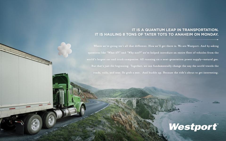 Westport Innovations ad campaign print ad - Bay Area Mortar Creative Agency