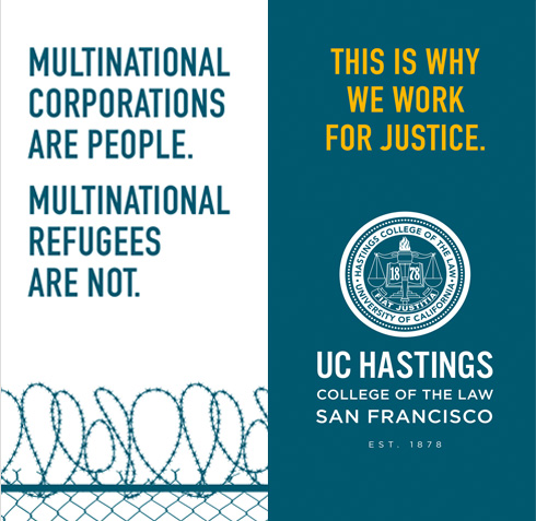 UC Hastings Law outdoor street banners refugees not people - Mortar Branding Agency San Francisco