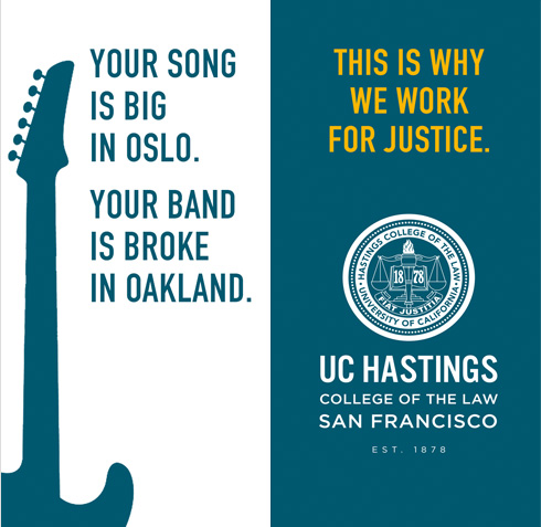 UC Hastings Law outdoor street banners band broke oakland - Mortar Branding Agency Bay Area
