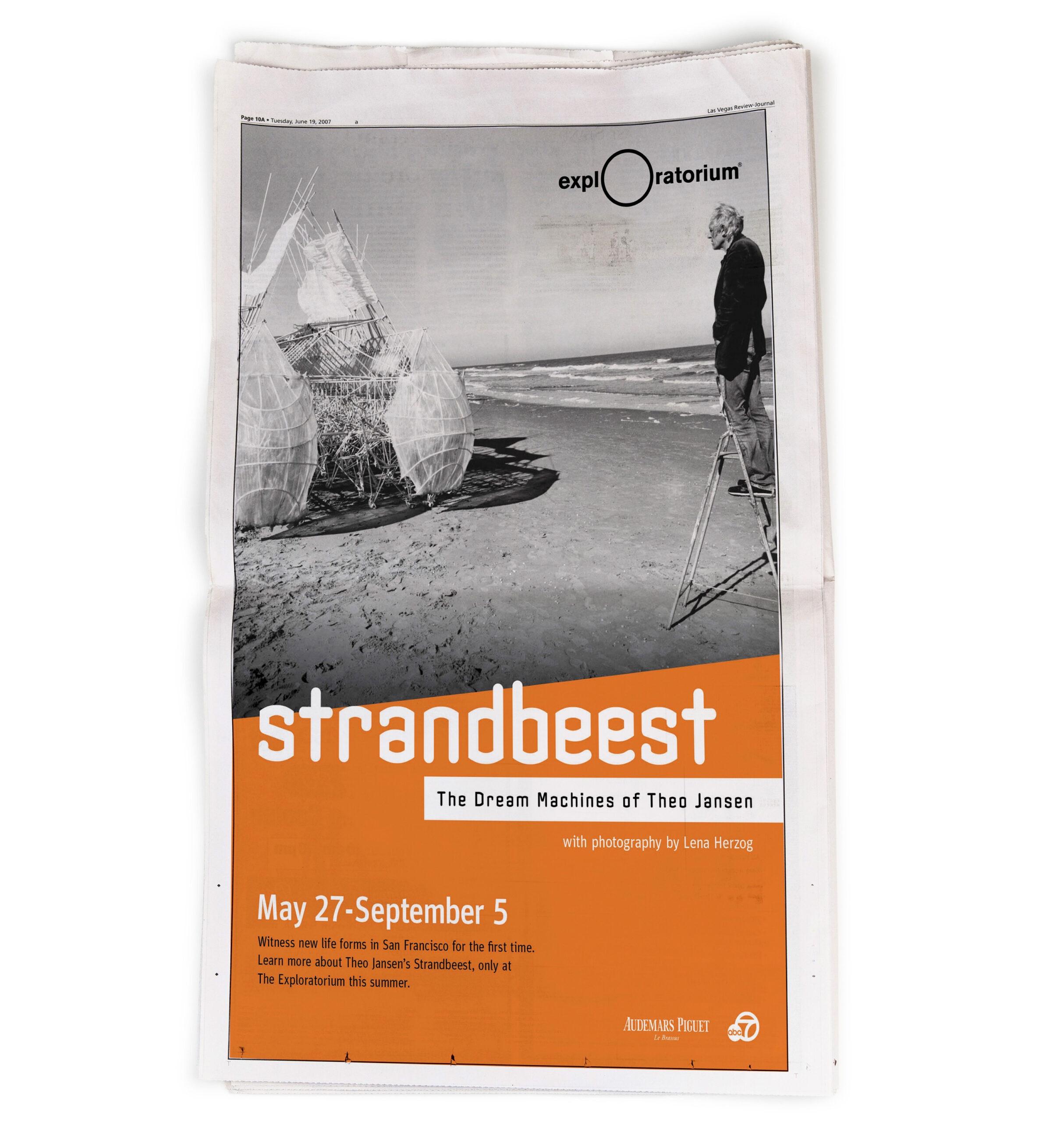Exploratorium Strandbeest newspaper ad